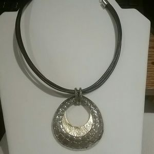 Chico's necklace, nice black, Silver and gold tone